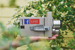 Facebook Live. Instagram Live. Youtube Live Streaming. Digital Marketing. Using Live Videos for marketing. social media marketing. Image of a video camera that says Facebook Live